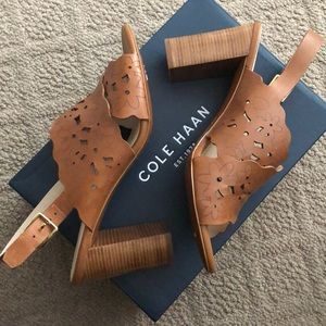 Cole Haan brown leather heeled sandal NEW 10.5
